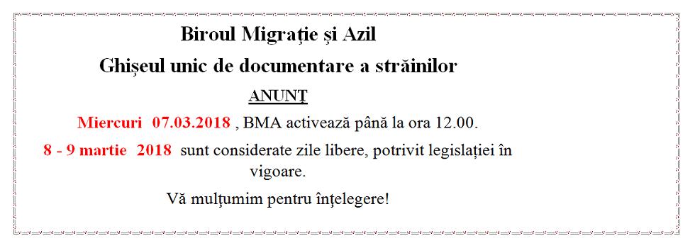 Miercuri 07.03.2018 , BMA activează până la ora 12.00